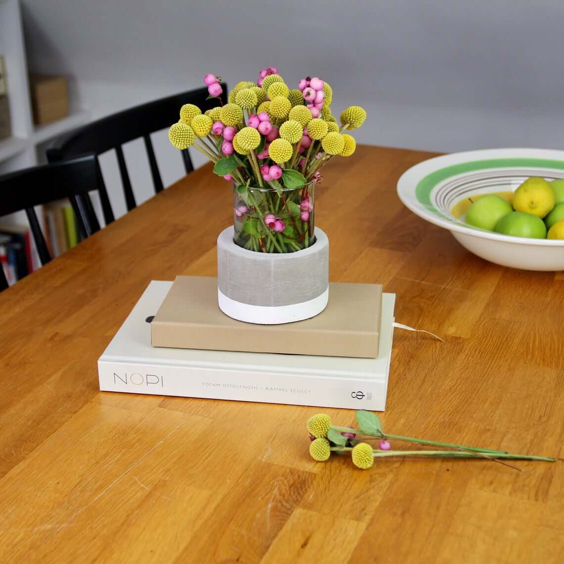 Glass Tumbler with Handmade Concrete Vase