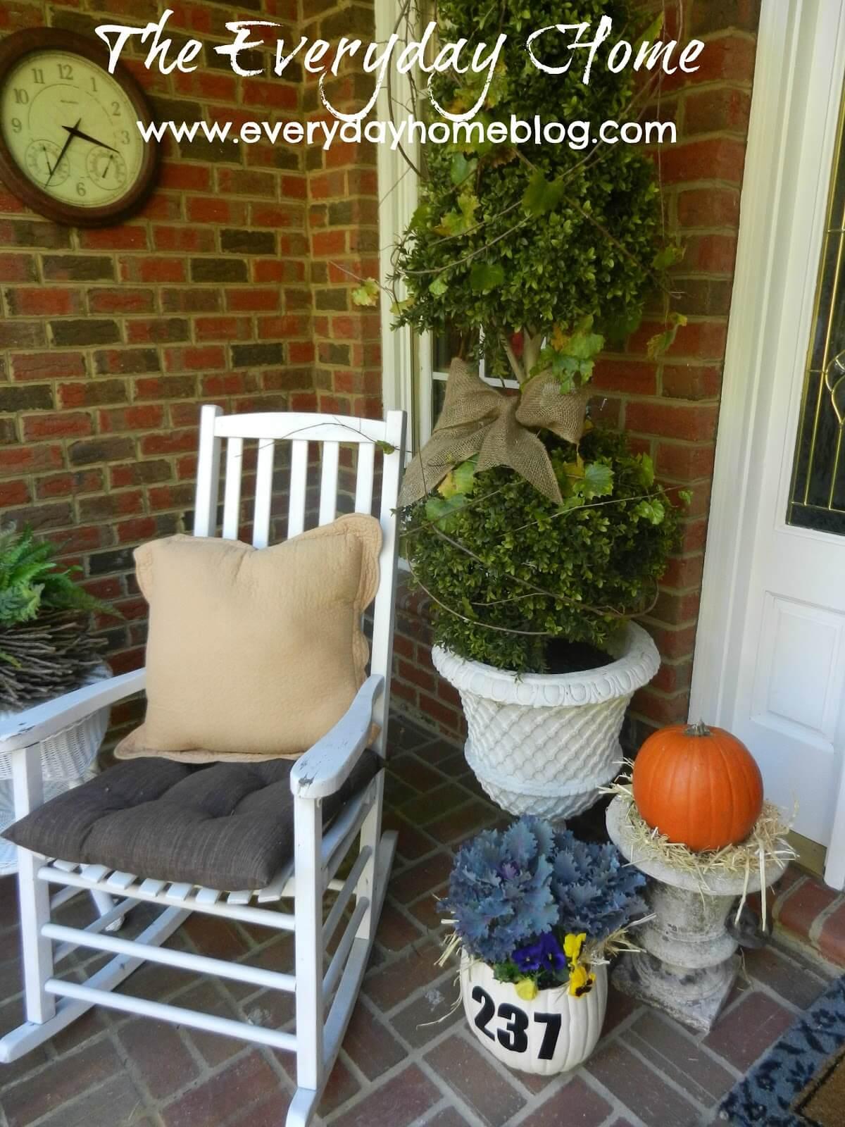Pumpkin Planter and Address Sign Fall Decor