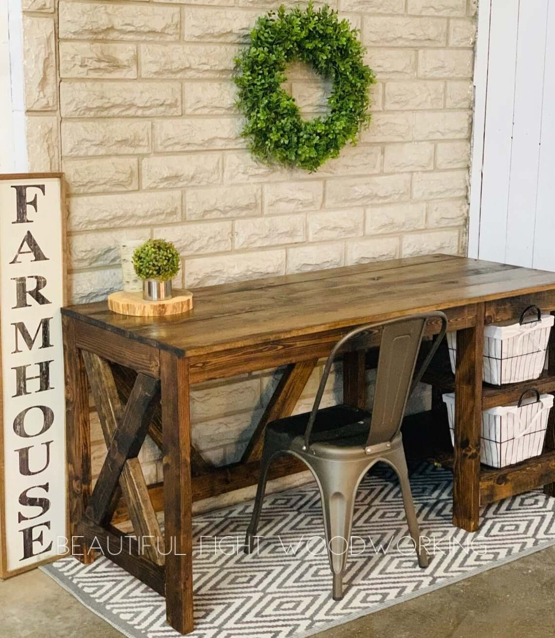 Rustic and Charming Warm Wooden Table with Storage Bins