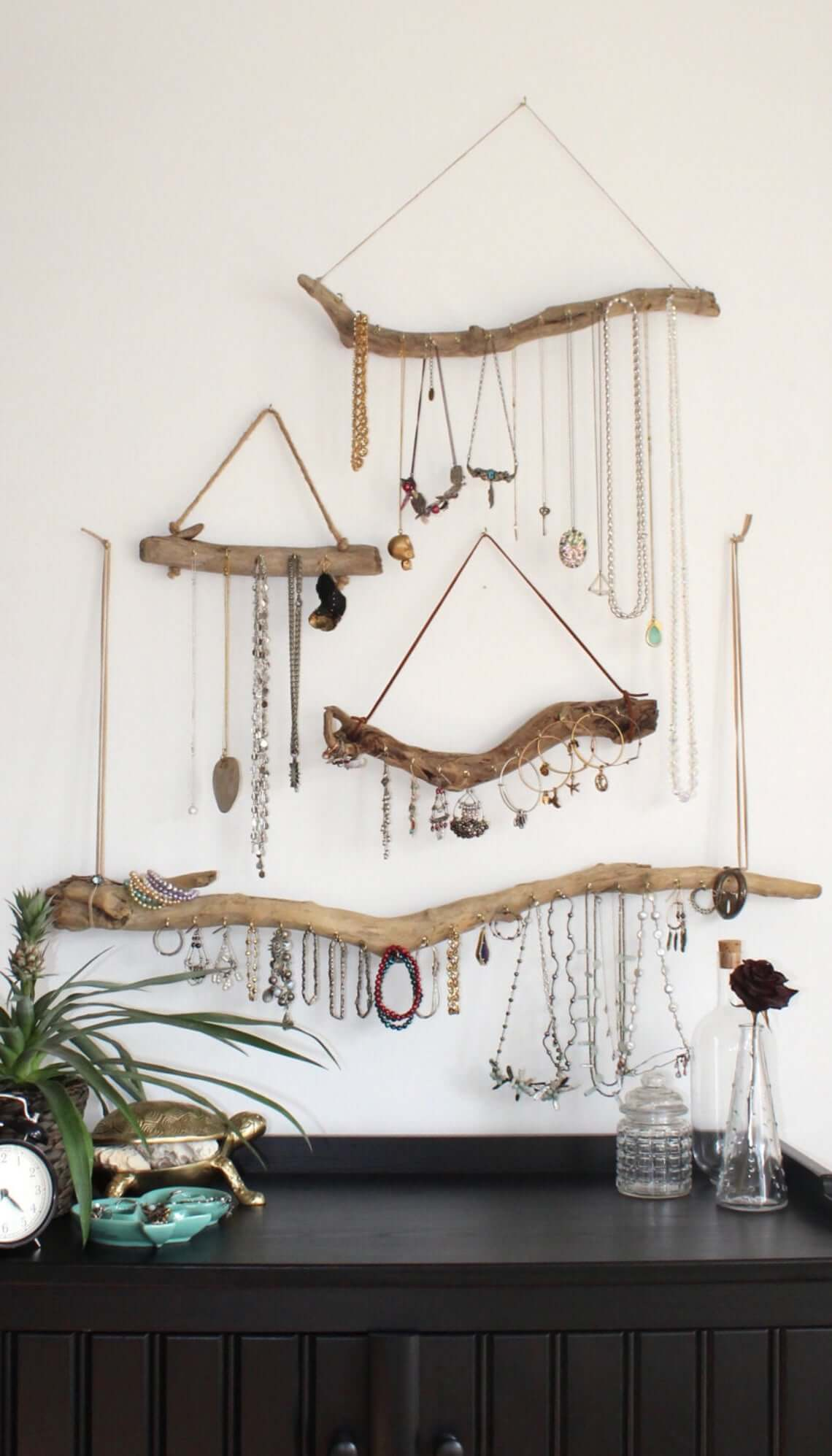Driftwood Jewelry Organizer for Small Space Storage