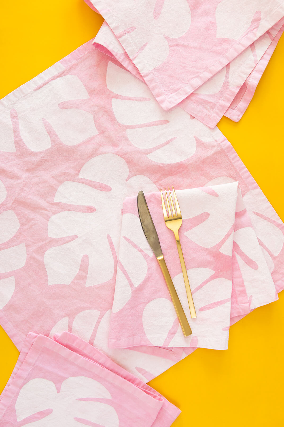 Pretty and Pastel Stenciled Fabric Napkins