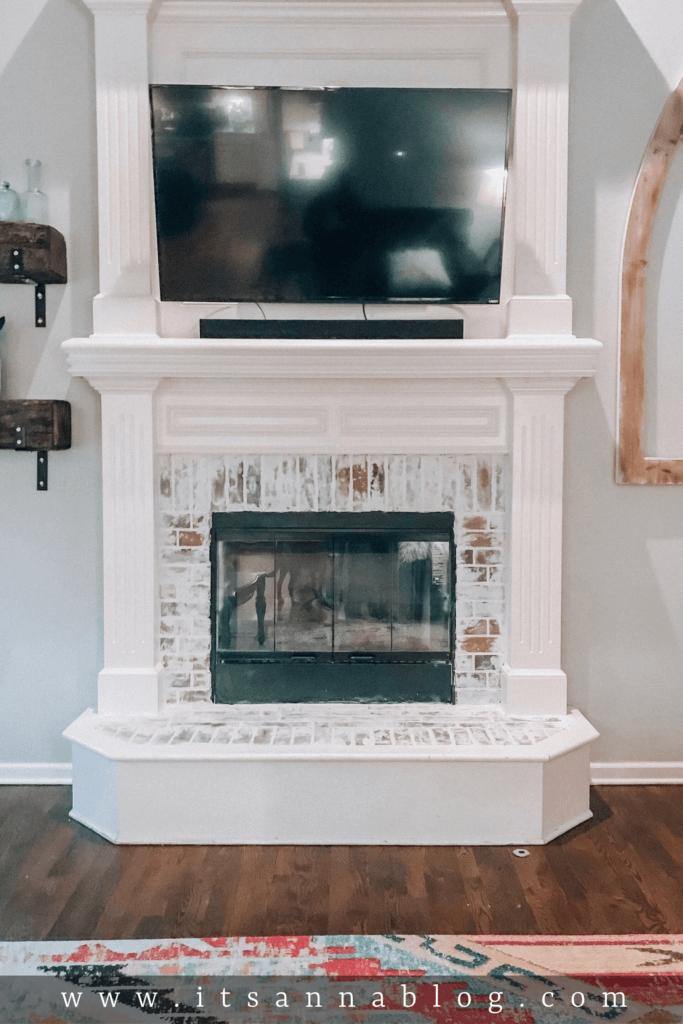 Stately White Columns and White Washed Brick