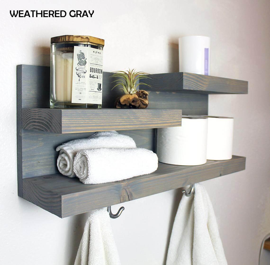 Gray Wood Grain Wall Shelf
