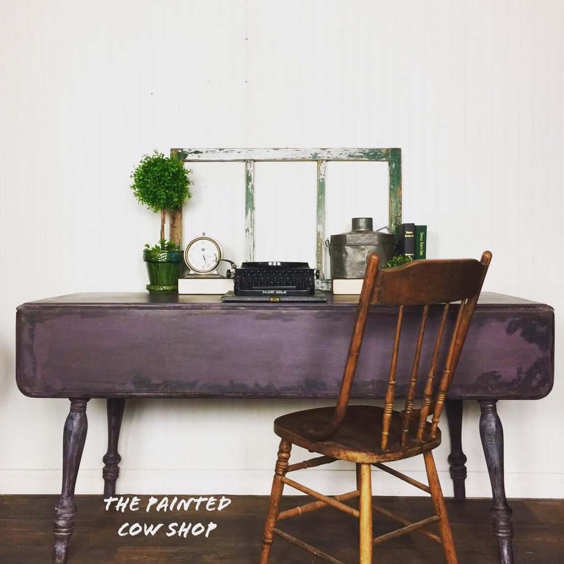 Dark Vintage Table Turned Writer's Space Farmhouse Decor