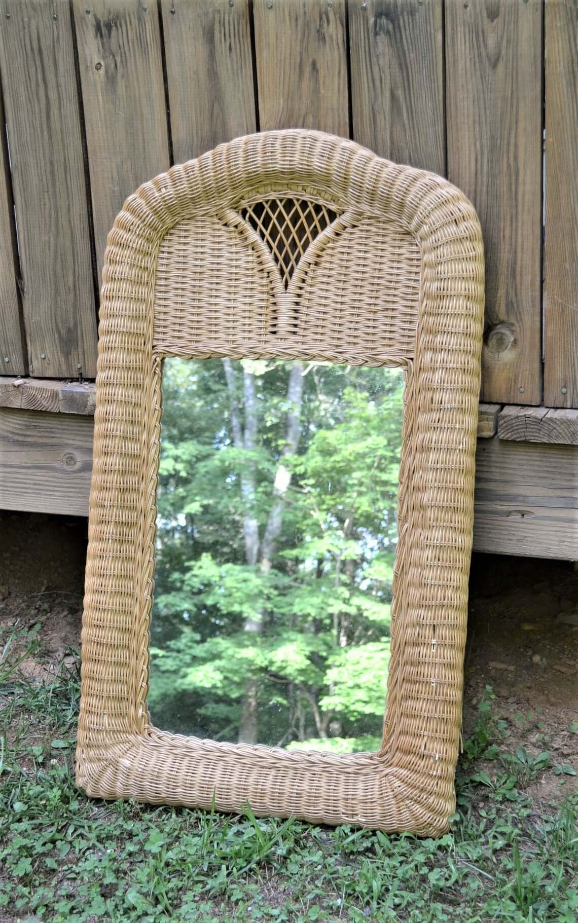 Large Vintage Rattan Wall Mirror