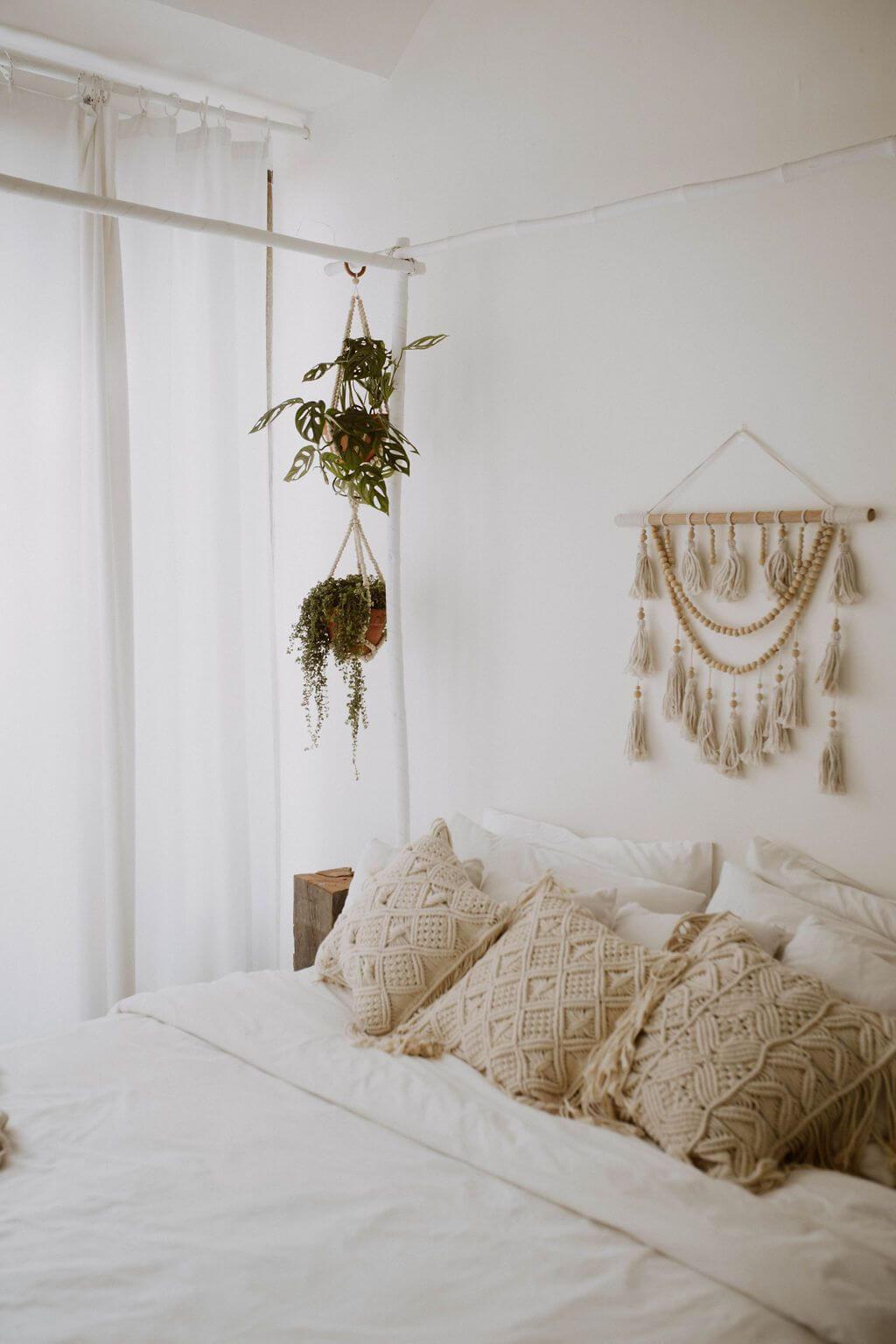 Tassel and Wood Bead Boho Wall Hanging
