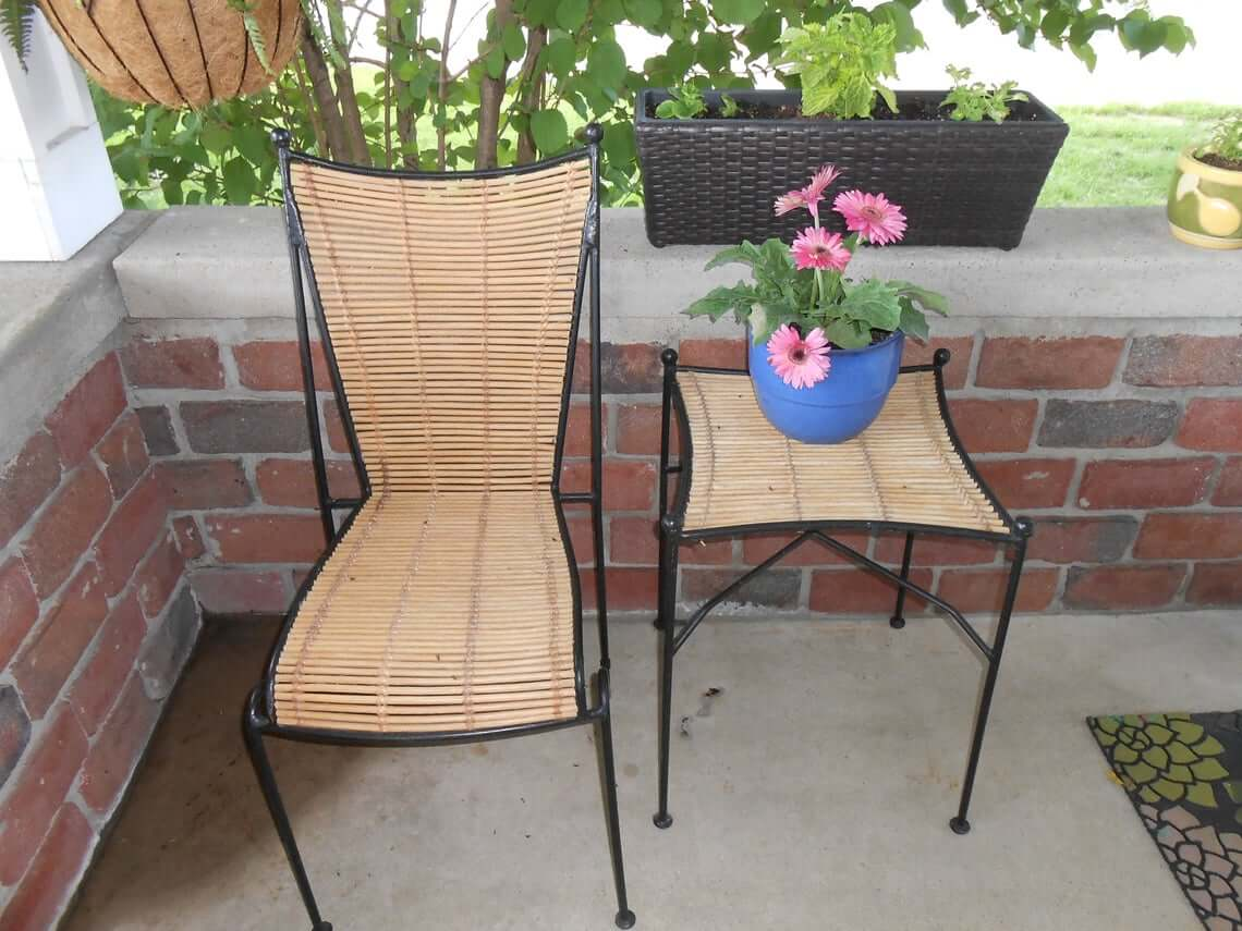 Mid-Century Modern Wrought Iron Table and Chair