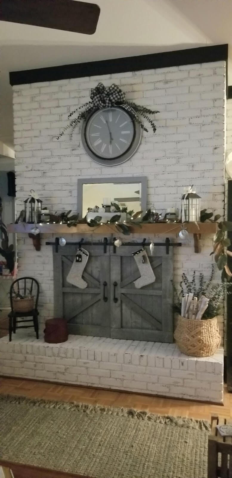 White Washed Brick with Gray Barn Doors