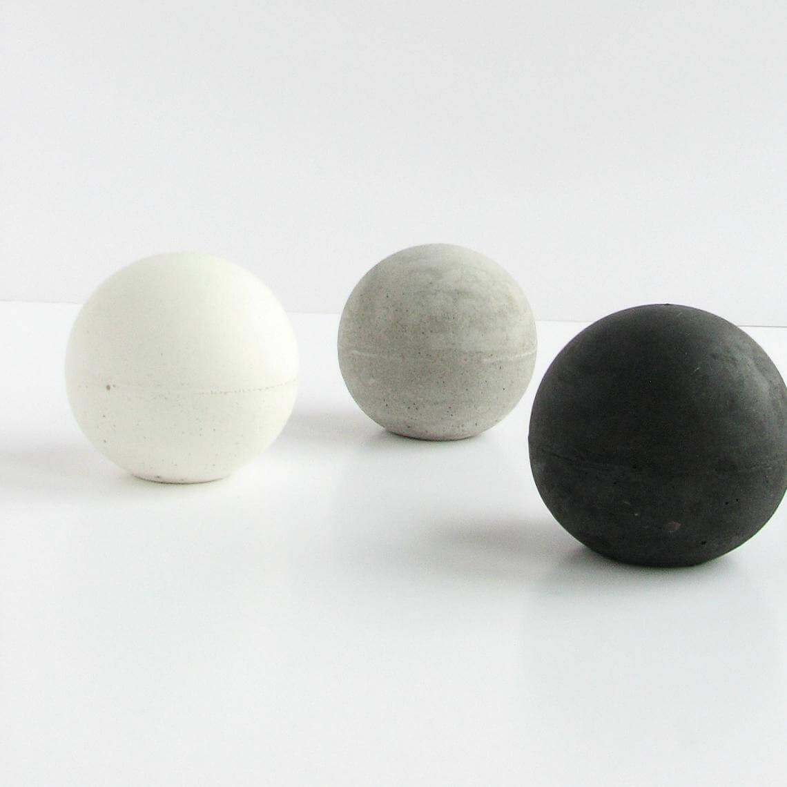 Set of Three Concrete Spheres