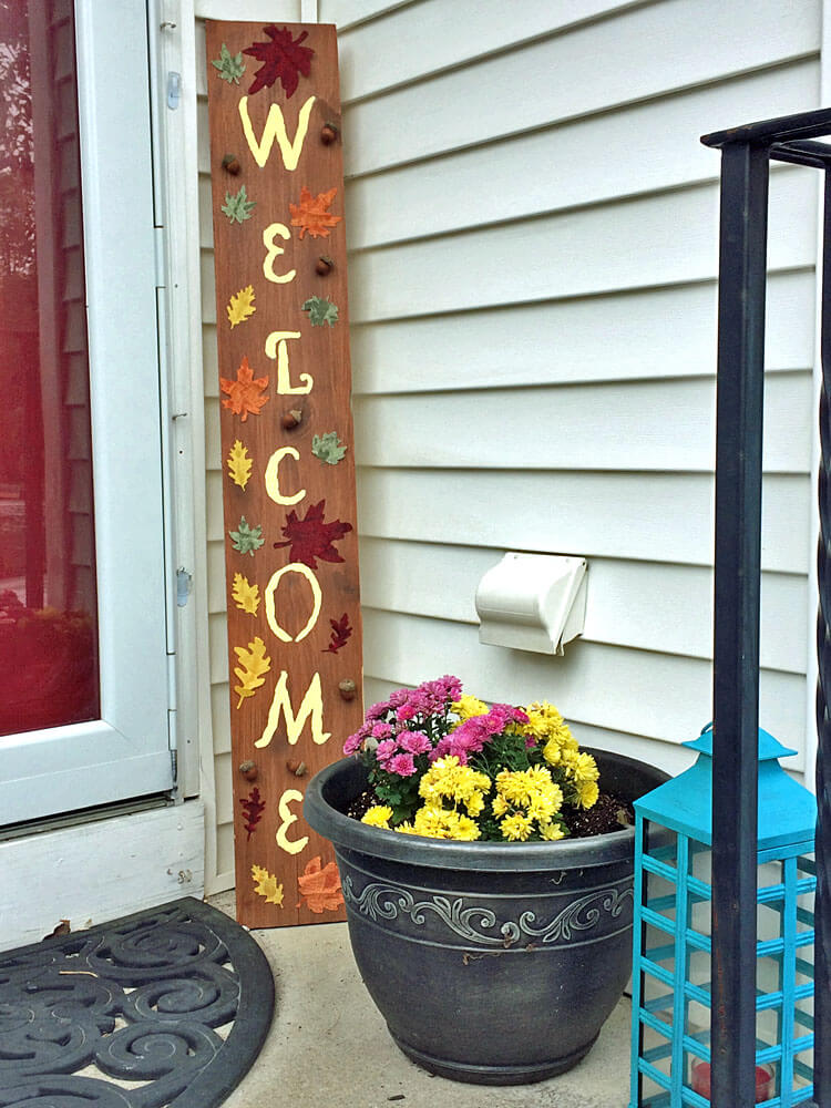 Hand-painted Welcome Sign with Fall Colored Leaves