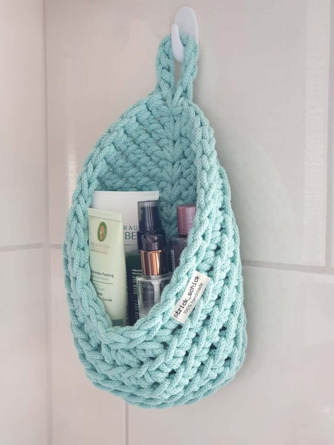 Hanging Crochet Bathroom Organizer Basket