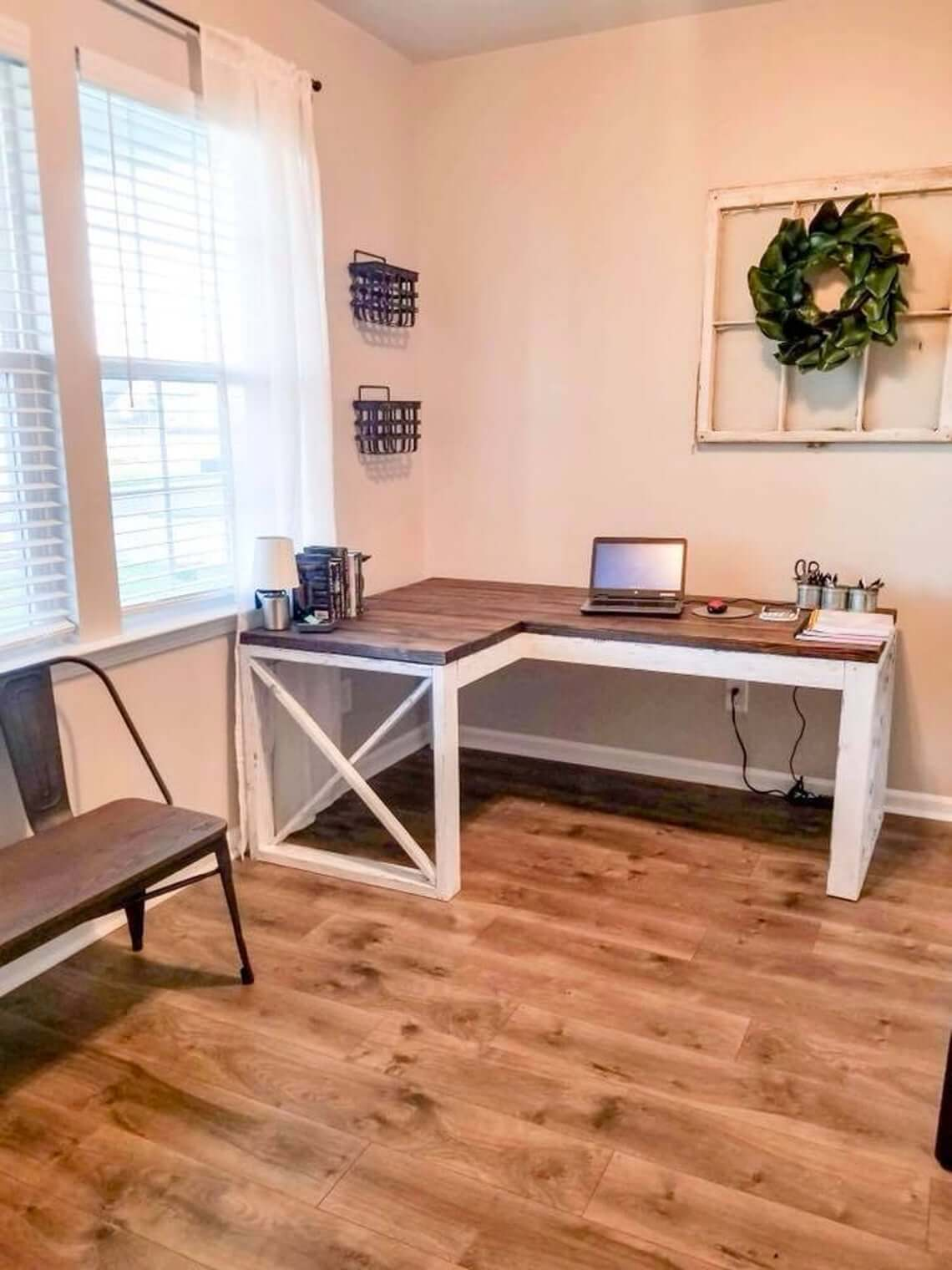 Long and Lanky L-shaped Farmhouse Desk