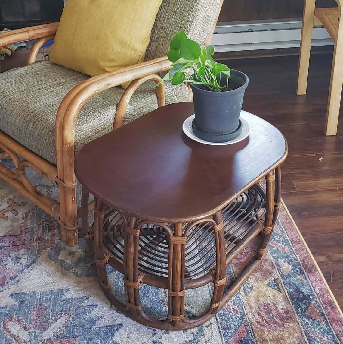 Peacock Wicker Bamboo Rattan Table