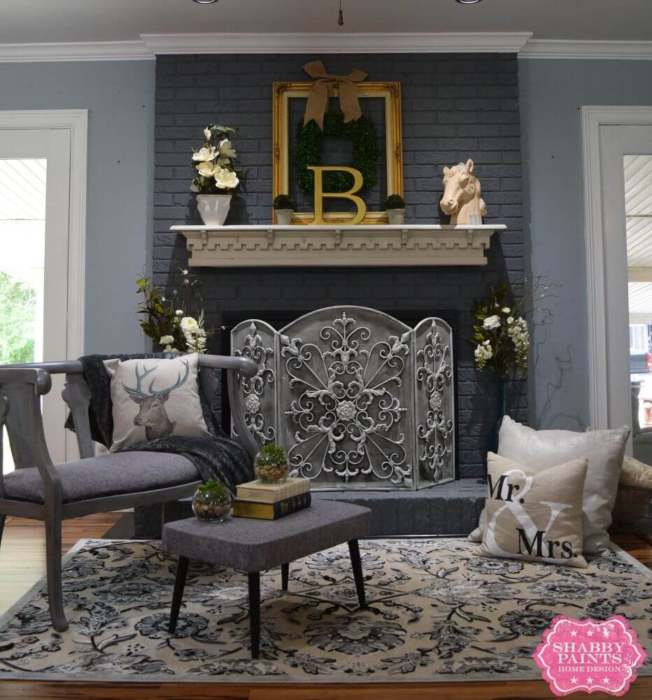 Rich Gray with Ornate Screen Fireplace