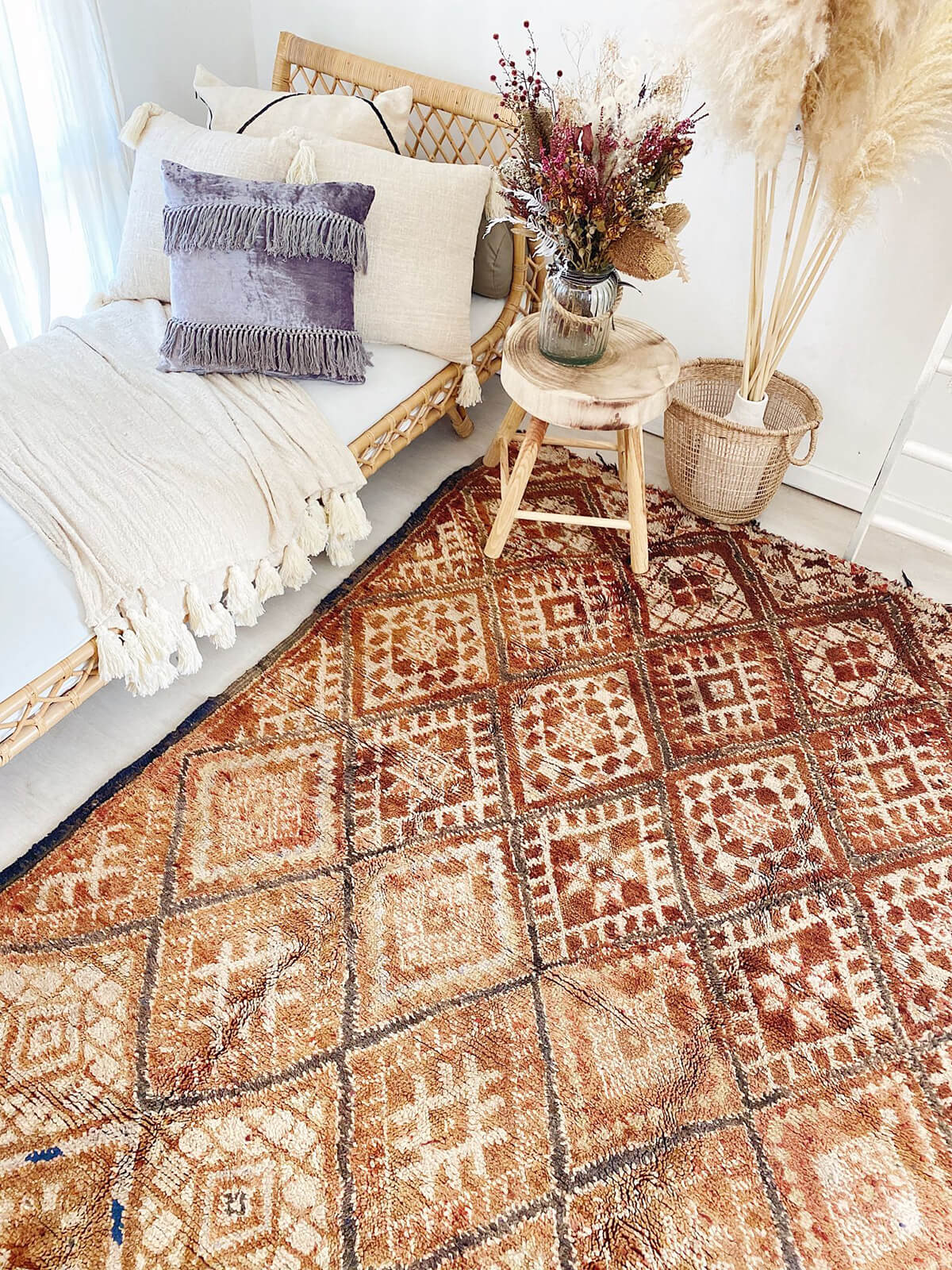 Artisanal Hand-Made Moroccan Rug with Fringed Edge