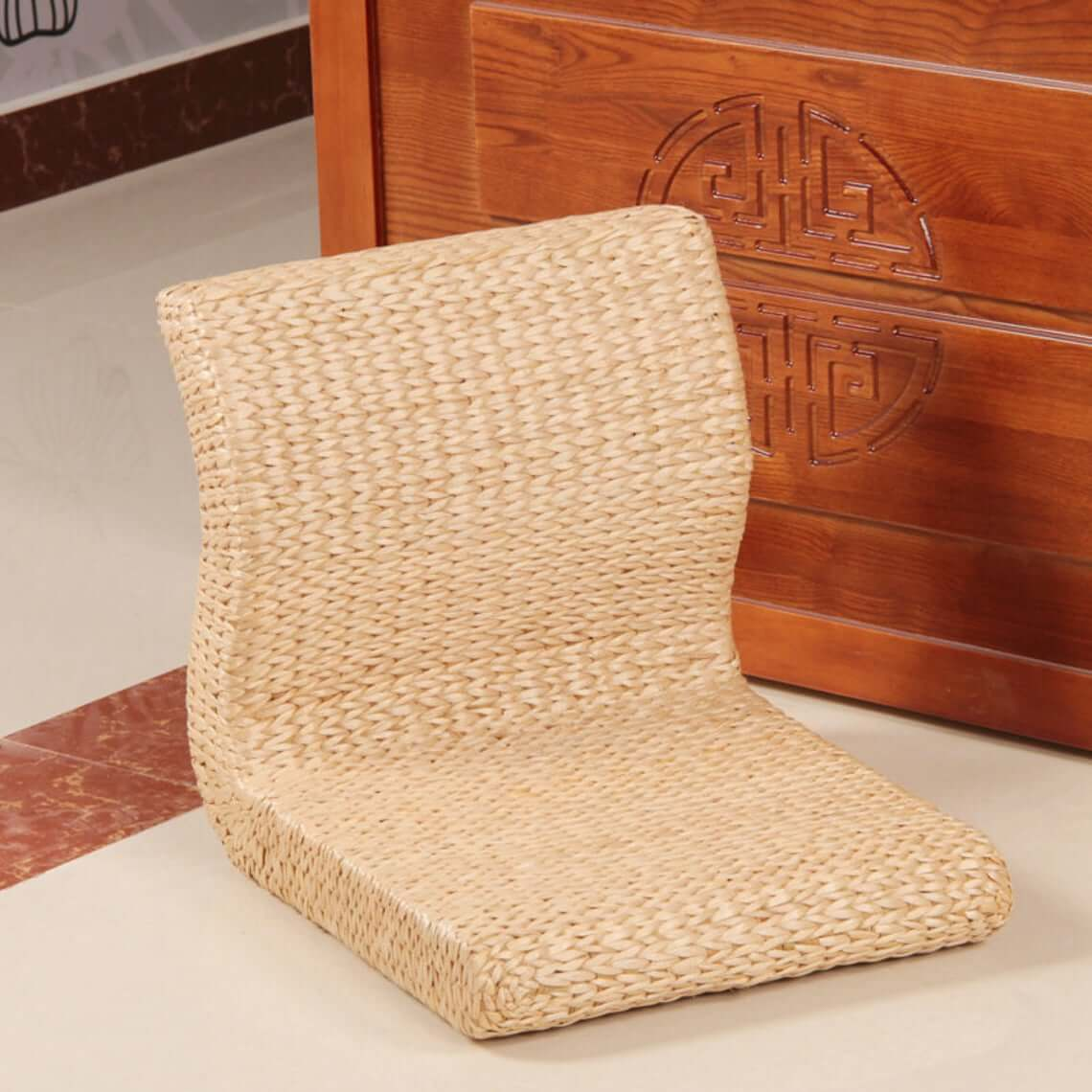 Japanese-Style Straw Legless Tatami Chair