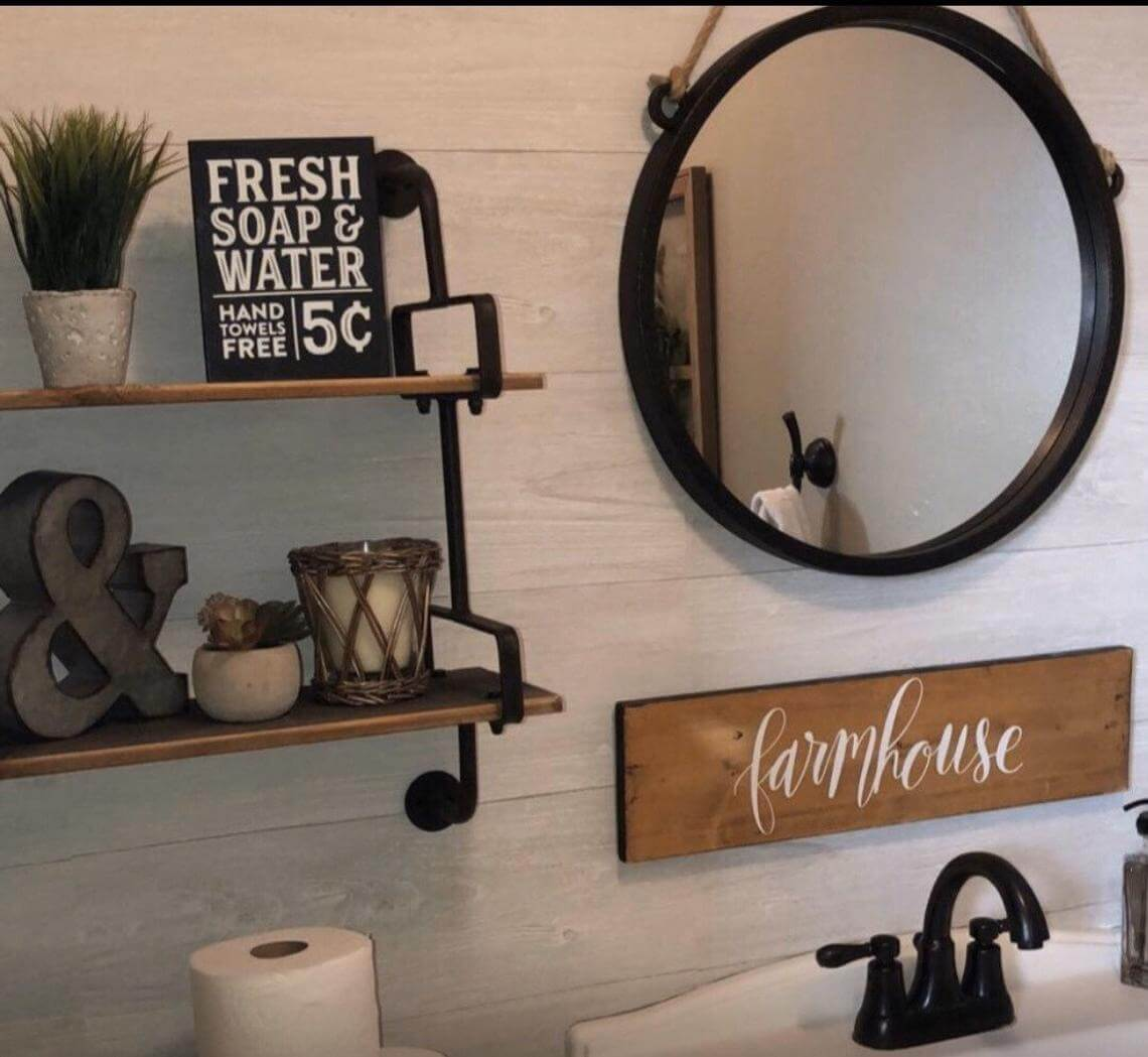 Modern Farmhouse Metal and Wood Bathroom with Shiplap