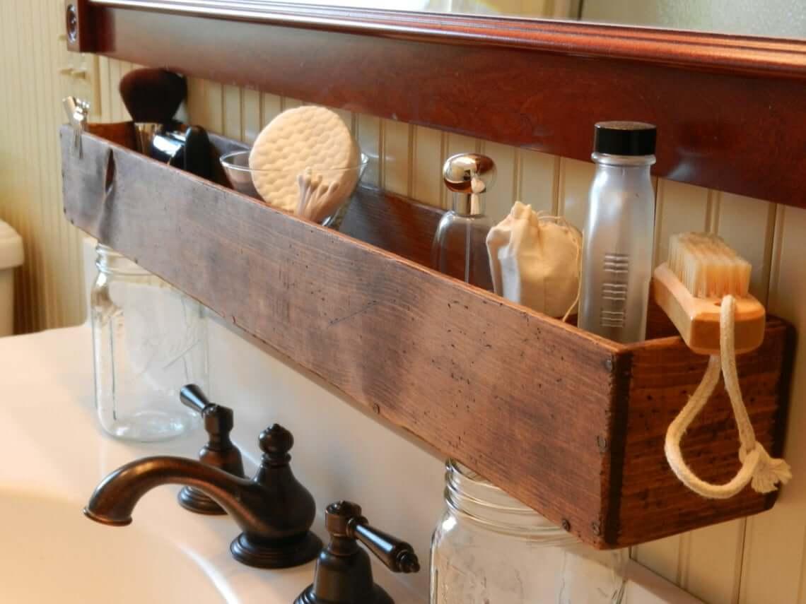 Wooden Trough Mounted Sink Organizer