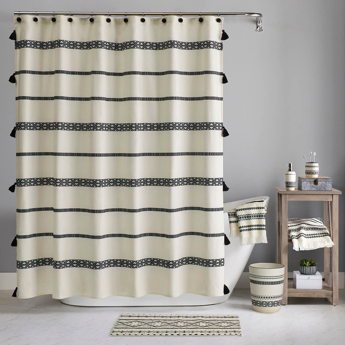 Triangles and Tassels Taking Center Stage in the Bathroom