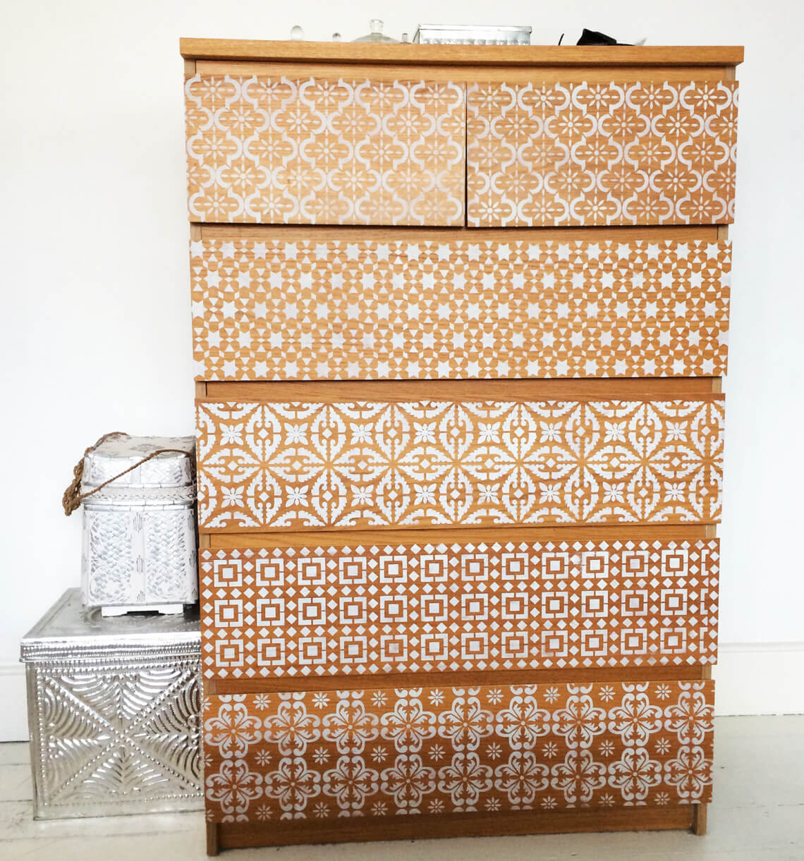 Natural Wood with White Intricate Stenciled Storage Closet