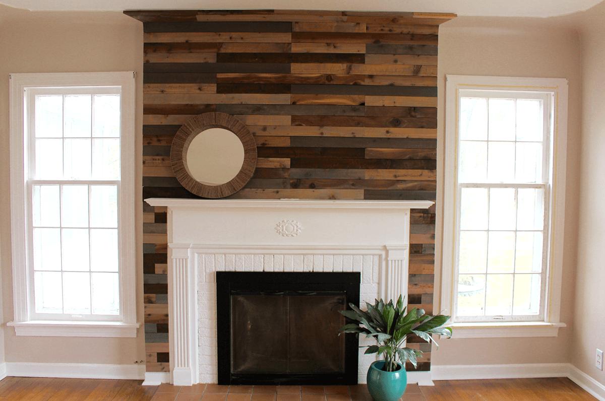 Wonderful Wall of Wood Fireplace Design