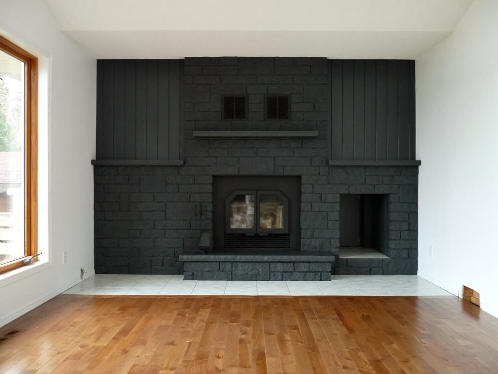 Magnificent Monotone Fireplace Wall in Dark Gray