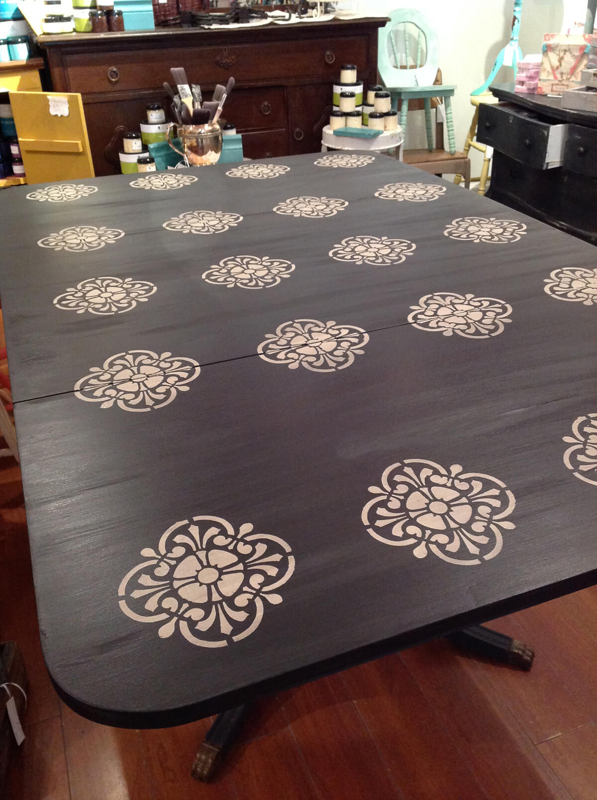 Stenciled Antique Duncan Phyfe Dining Table