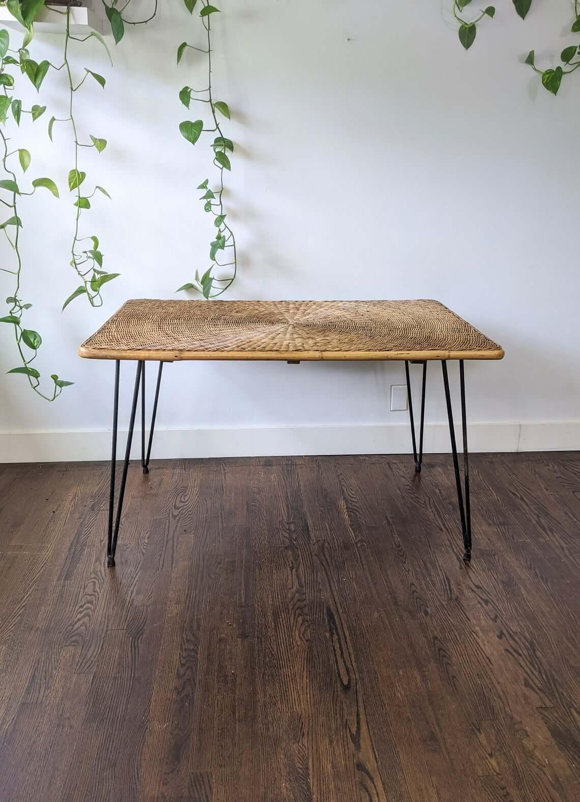 Mid-Century Vintage Rattan Table