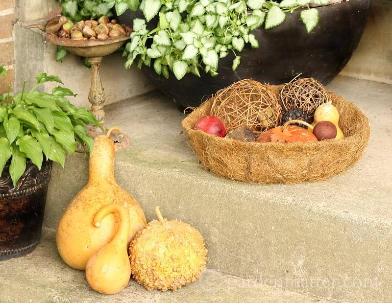 Rustic Gourds and Stick Spheres Fall Display