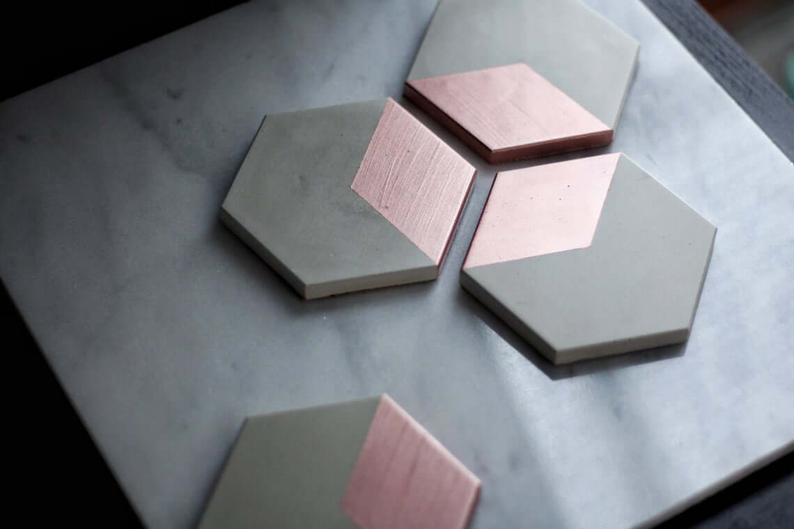 Hexagon Concrete Coasters with Rose Gold Detail