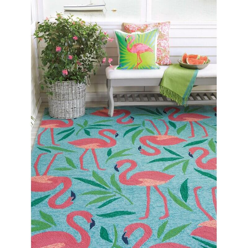 Turquoise, Green, and Plenty of Pink Flamingos Outdoor Rug