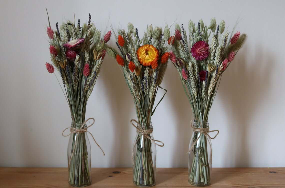 Helichrysum and Grasses Table Decorations