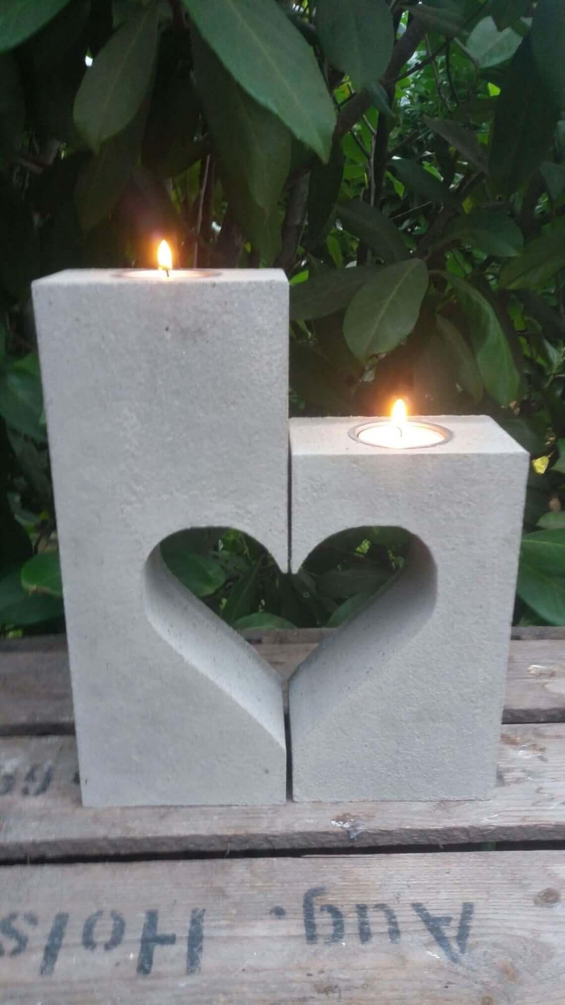 Decorative Concrete Heart Shaped Candle Mold