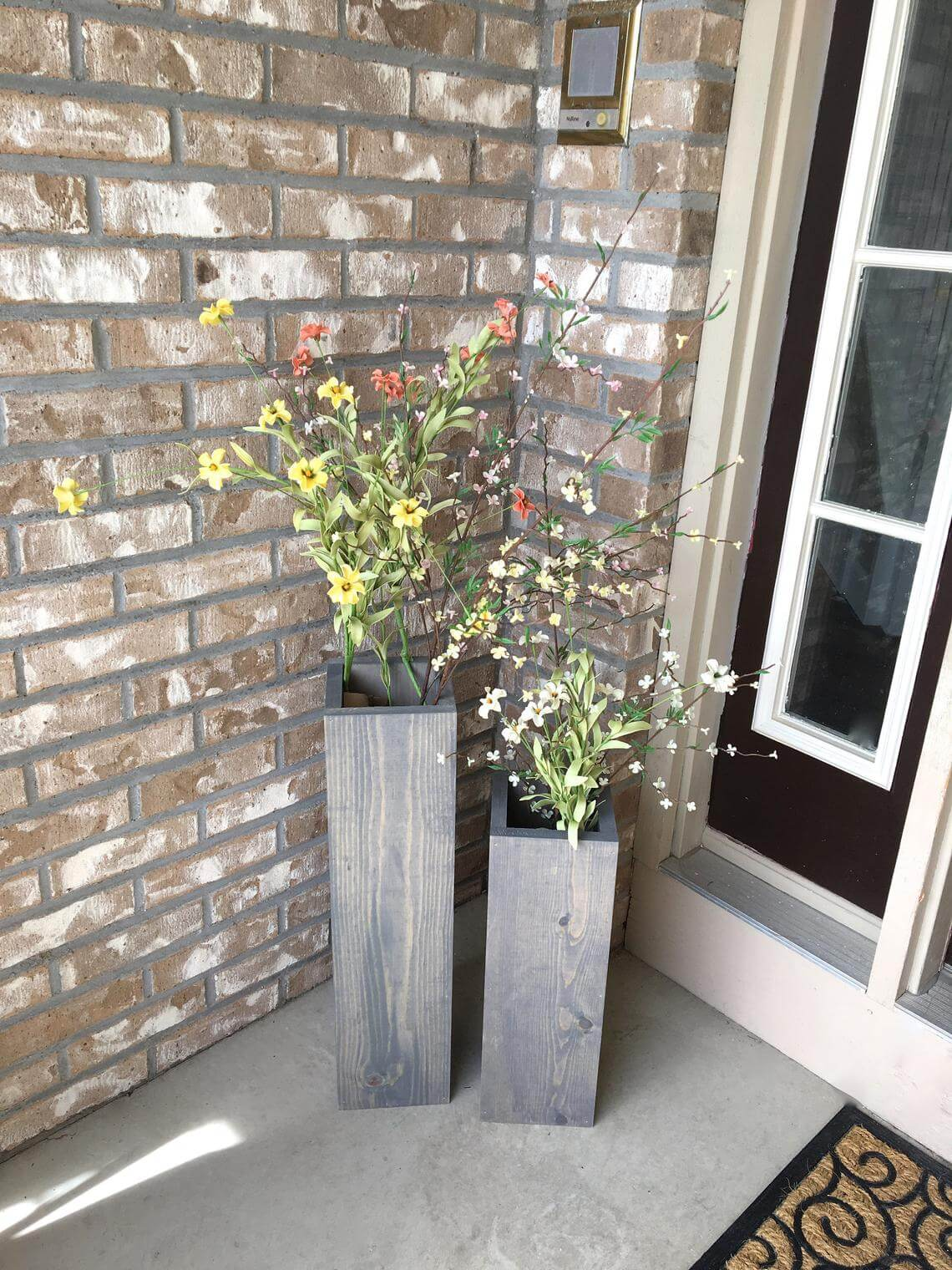 Squared Off and Spun Traditional Wooden Porch Planters