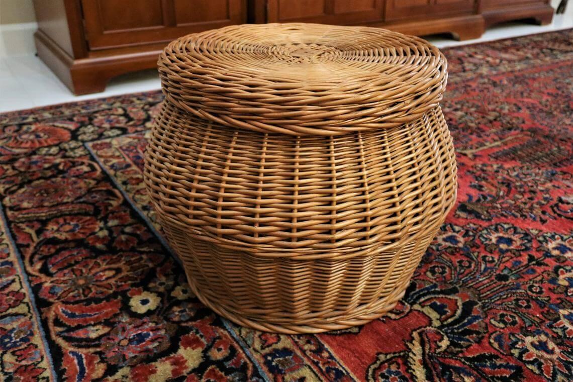 Retro Rattan Round Basket Footstool