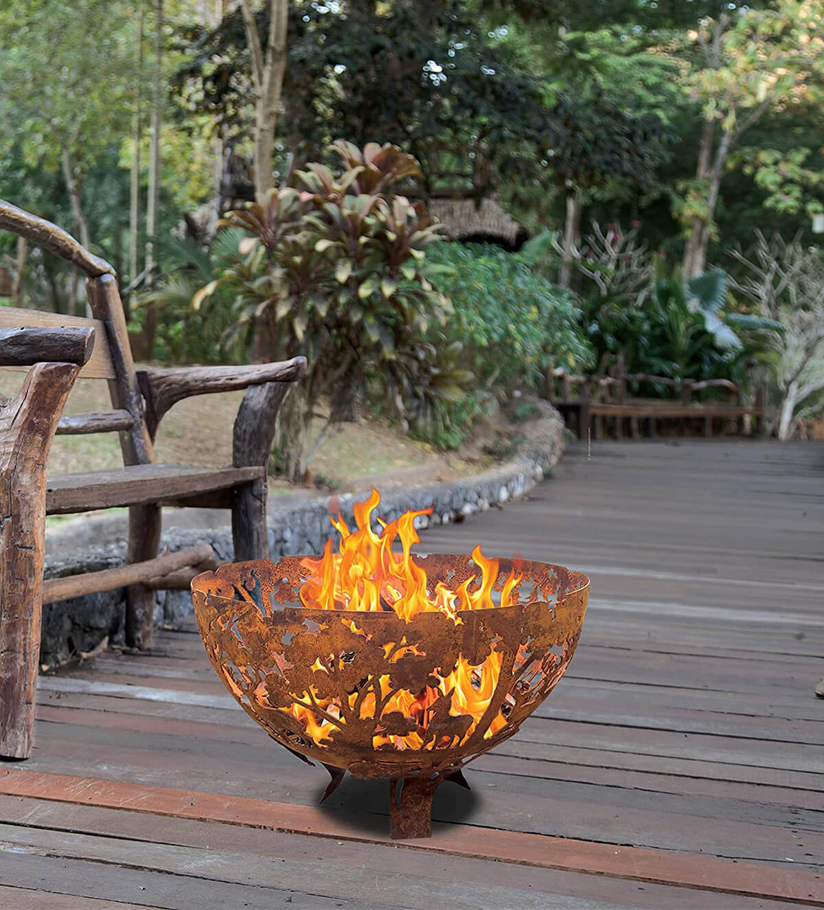 Rustic Fire Ball Metal Pit