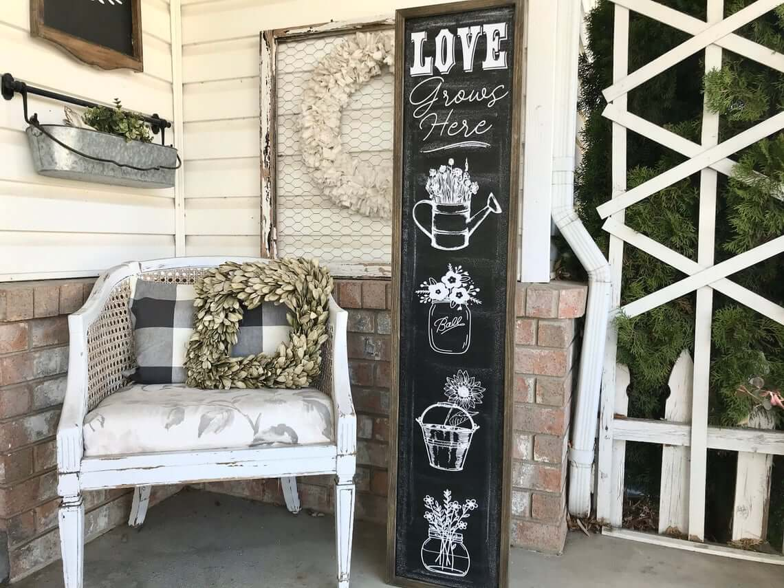 Love Grows Here Chalkboard Porch Sign