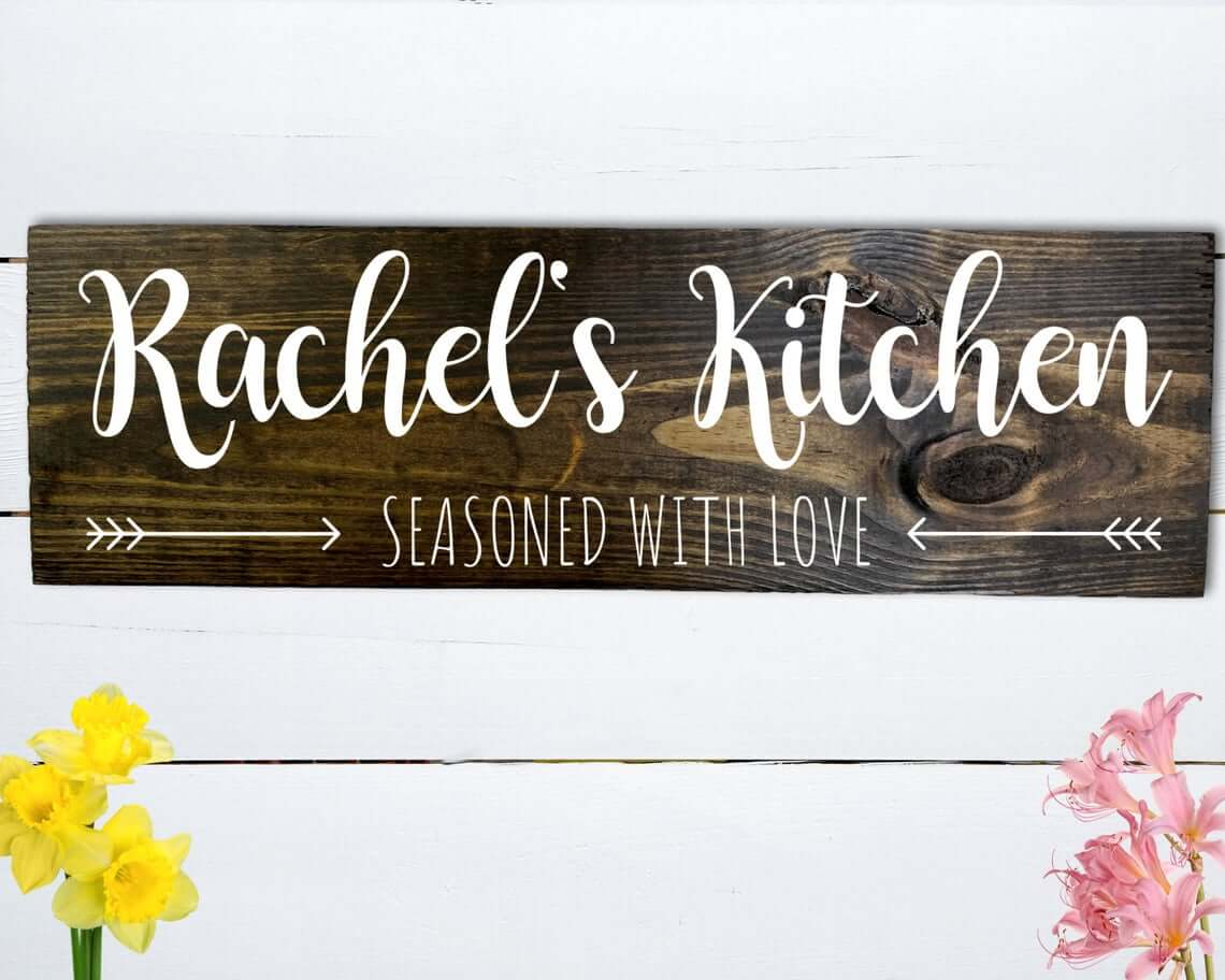 Rustic and Seasoned with Love Kitchen Sign