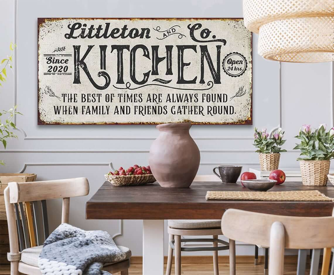 Gather Round Personalized Kitchen Sign