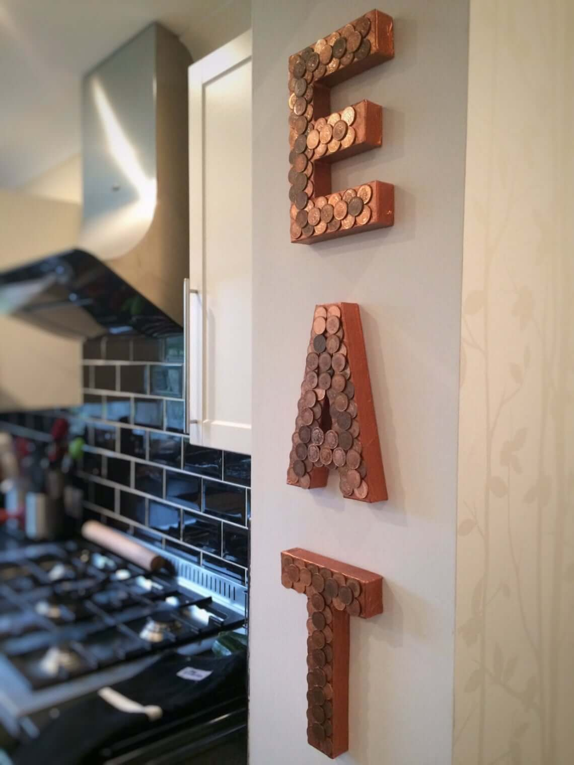Shiny Copper Pennies EAT Kitchen Sign