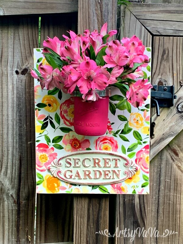 Pretty Pink and Yellow Secret Garden Sign