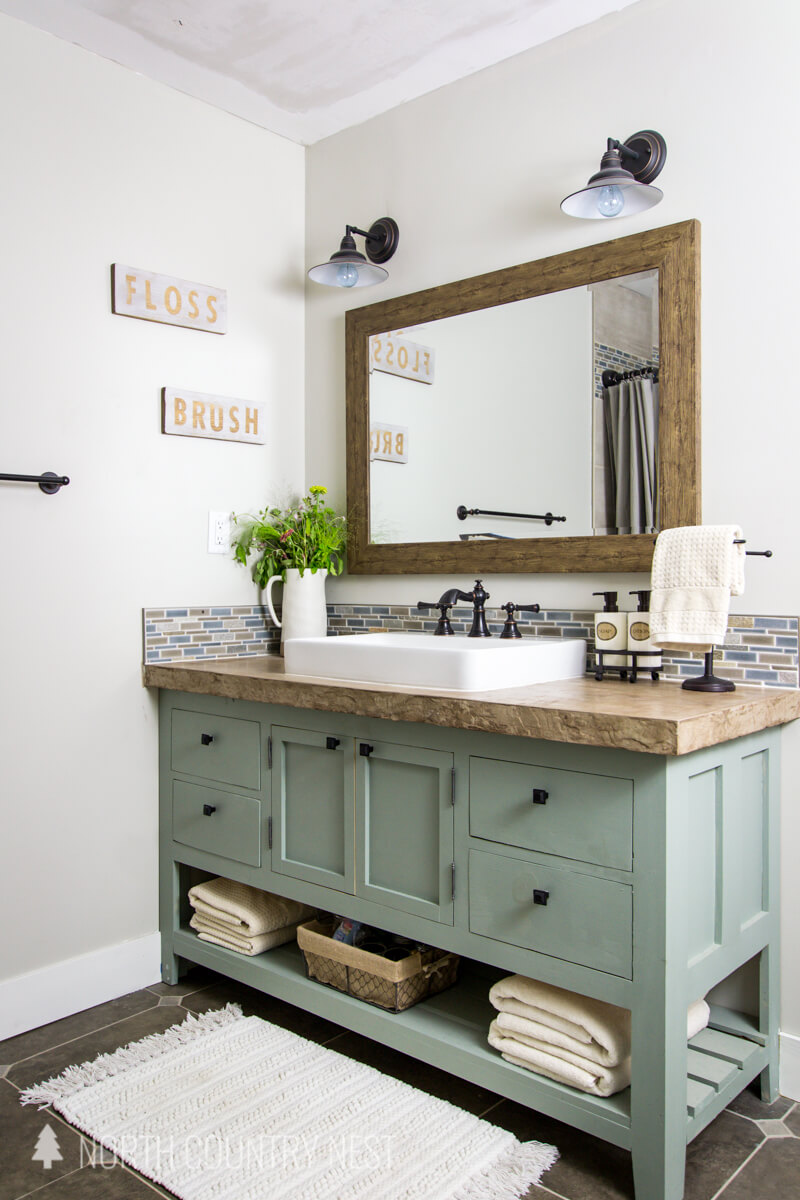 Rustic Bathroom Mirror Mixes with Modern