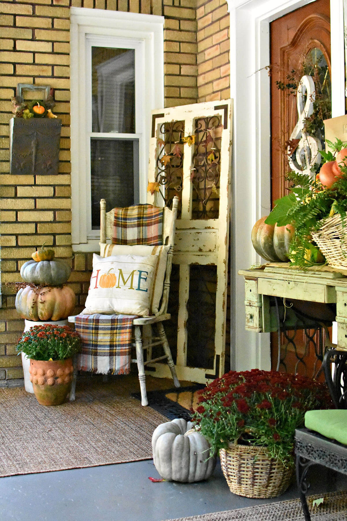 Old Door Turned Front Porch Decor