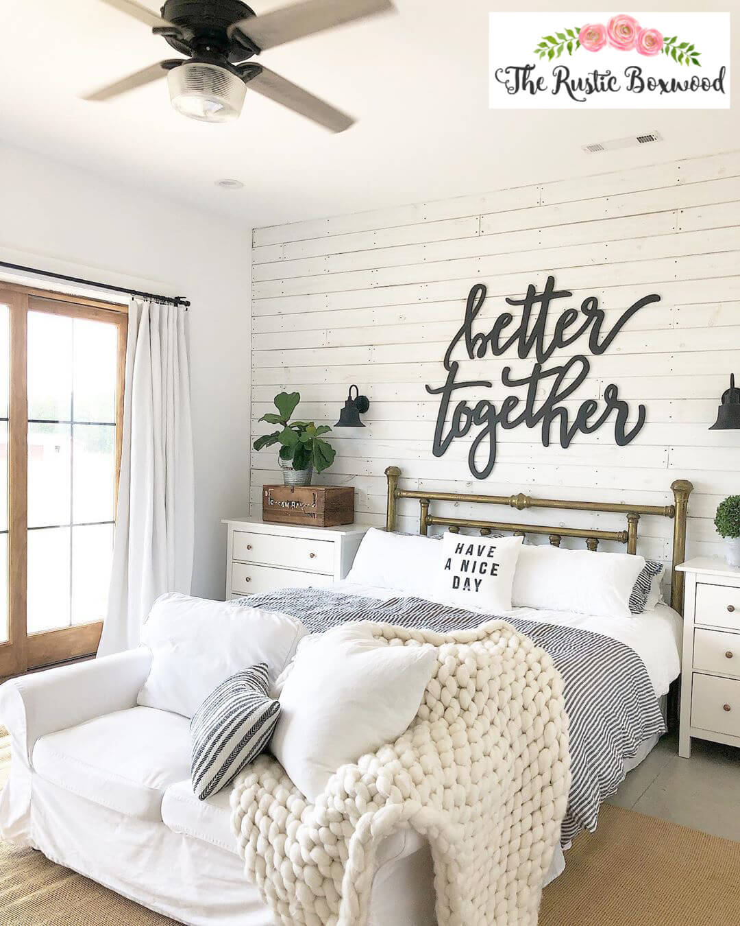Fabulous Farmhouse Shiplap Wall and Metal Bed
