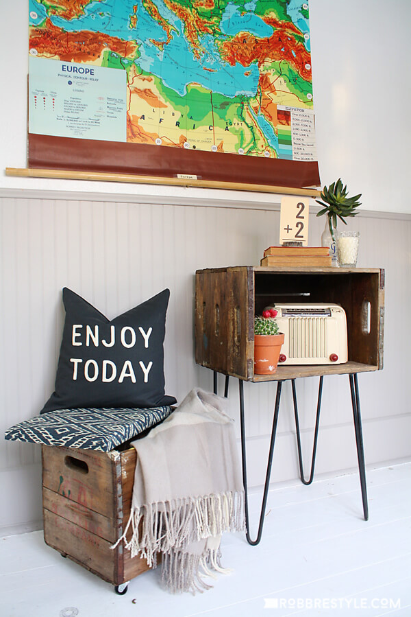 Side Table and Upholstered Stool Boxes