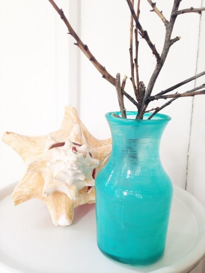 Simple Blue Beach Sea Glass Vase
