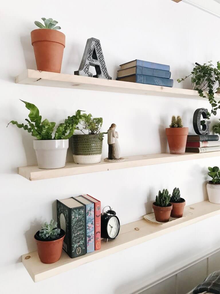 Natural Unfinished Wood Floating Shelves Trio