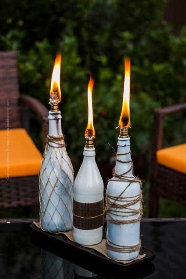 Tiki Torch Trio of Repurposed Wine Bottles
