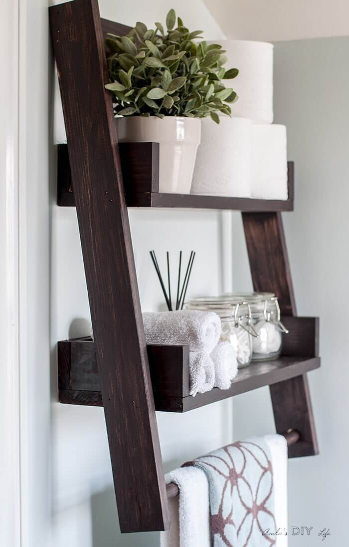 Above the Toilet Wooden Ladder Shelf