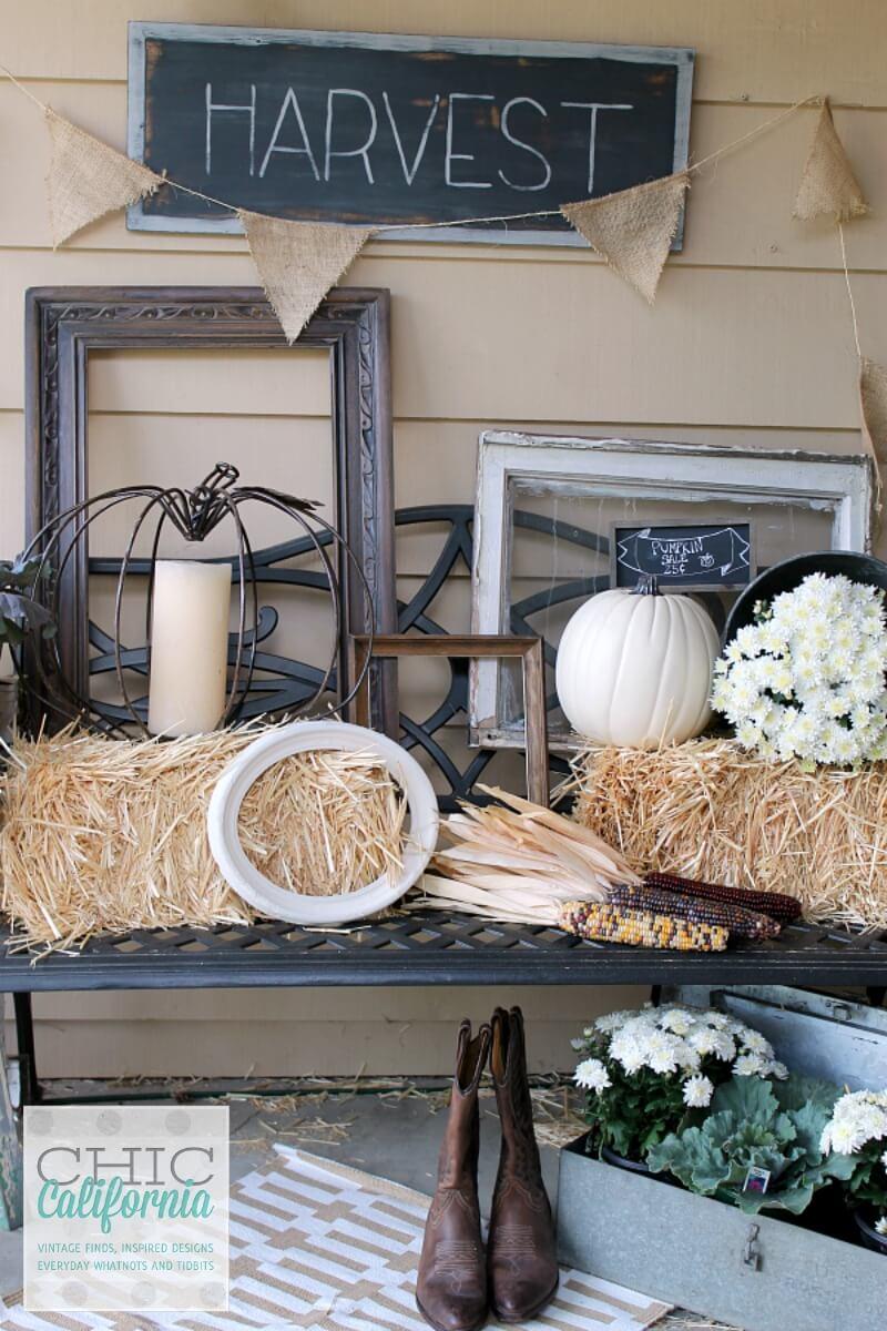 Black and White Farm Harvest Porch Decor